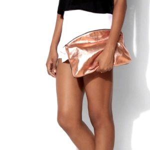 [NWOT] [SALE] BAGGU Rose Gold Black Leather Clutch